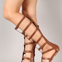 Soda Strappy Caged Gladiator Knee High Flat Sandal