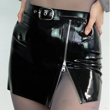 Explosive women's sexy high waist slimming zipper buckle all-match bag hip skirt