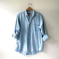 Vintage Chambray Shirt. Light Wash Cotton Button Up. Washed Out Shirt.
