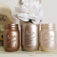 3- Hand Painted Mason Jars Flower Vases-Metallic Colllection One-Country Decor-Cottage Chic-Shabby Chic-French Chic