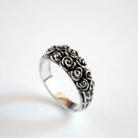 Sterling Silver Ring Big Roses