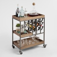 Wood and Faux Leather Strap Bar Cart with Wine Storage