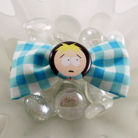 Butters from South Park Hair Bow Clip (Aqua Check)
