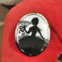 Antique Brooch 1800s Porcelain Hand Painted Silhouette Cameo Profile Victorian Jewelry Southern Belle Irridescent Background Brass Mounting