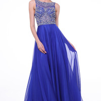Elegant Royal Blue Long Beaded Cap Sleeves Backless Prom Dresses