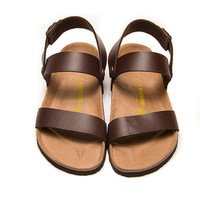 2017 Birkenstock Summer Fashion Leather Cork Flats Beach Lovers Slippers Casual Sandals For Women Men Couples Slippers color coffee size 36-45