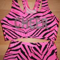 Custom Animal Print Sports Bra and Boy Shorts with Glitter Letters