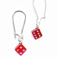 Red Rhinestone Dice Earrings