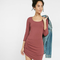scoop neck asymmetrical ruched dress