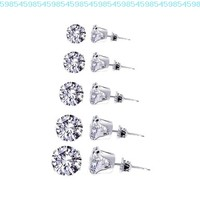 TDEZ-ROUND-SET Sterling Silver 3mm 4mm 5mm 6mm & 7mm Round Sparkling Clear Stud Earrings Set:Amazon:Jewelry