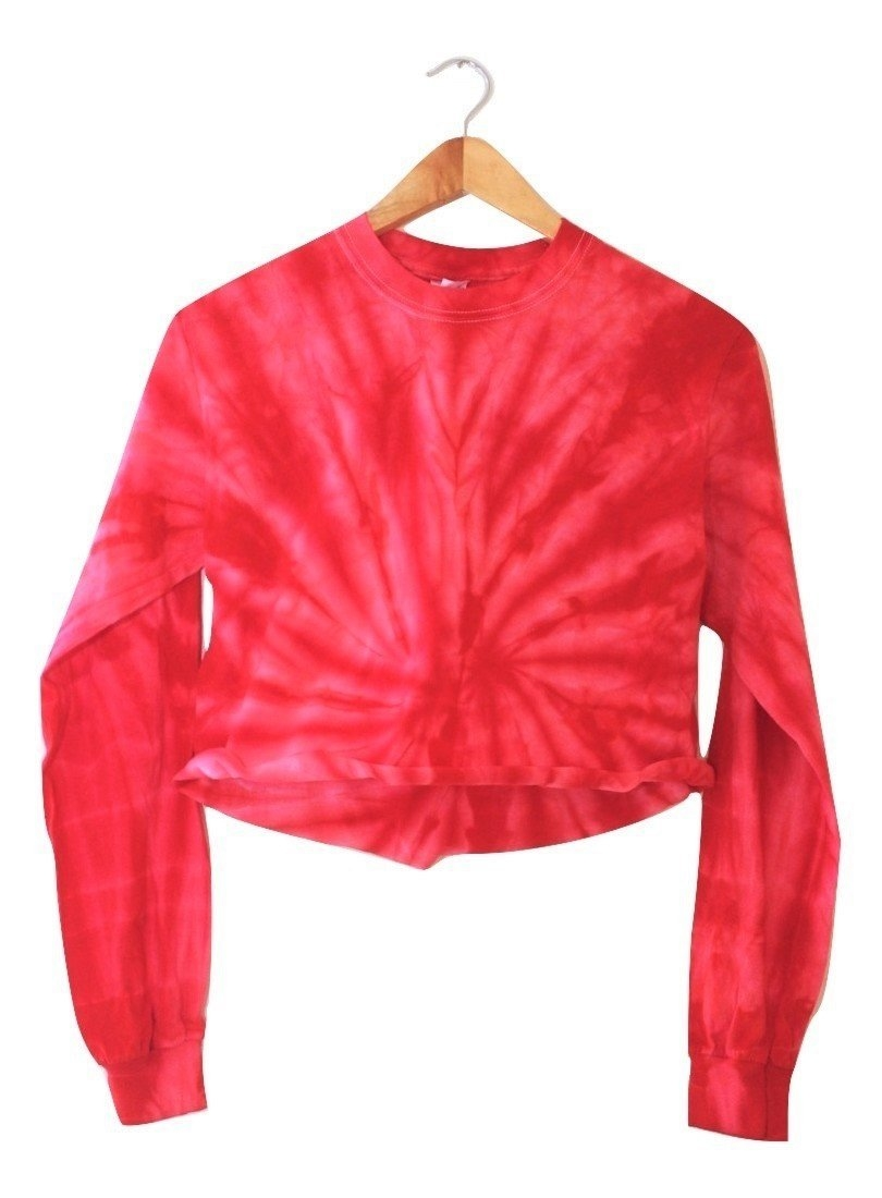Image of Cherry Red Tie-Dye Cropped Long Sleeve Unisex Tee