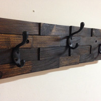 Rustic wall mount wood coat rack - entryway storage distressed coat hook rack