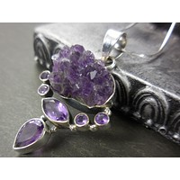 Amethyst (Cluster & Faceted) .925 Sterling Silver Pendat/Necklace