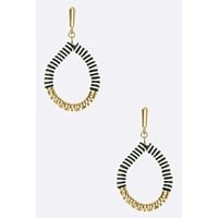 """Basic Chic"" Black and White Hoops Earrings"