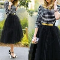 Plus size Fashion Tulle Skirts for Women Midi Black Fluffy Puff Highwaisted Unique Bottoms Skirt Clothes [7639134982]