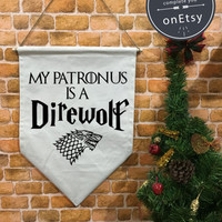Game of Thrones baner flag and hanging device My patronus is a Direwolf , wall banner flag, front door wreaths, wall hanging decoration