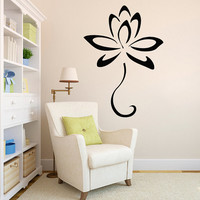 Lotus Wall Decal- Lotus Flower Yoga Wall Decals Vinyl Stickers- Lotus Wall Art Flower Floral Living Room Bedroom Home Decor Car Sticker Z813