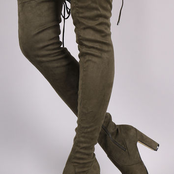 Simone Back Tie Thigh High Heel Boots
