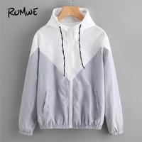 ROMWE Spring Autumn Fashion Hooded Two Tone  Color Block Drawstring Hooded Zip Up Jacket Casual Long Sleeves Coats