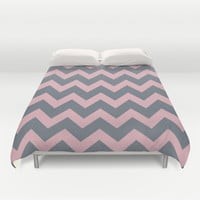 Chevron Coral Pink Gray Duvet Cover by BeautifulHomes
