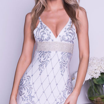 BOSTON PAINTED BANDAGE DRESS IN WHITE WITH SILVER