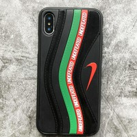 NIKE & Und Fashion New Hook Contrast Color Leather Women Men Mobile Phone Case Cover Black