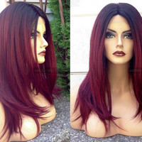 Red Lace Front Wig // Straight Wine Burgundy Yaki + Heat OK // Deep LACE Part OMBRE Wig w/ Dark Roots
