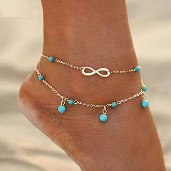 Infinity Beads Double Ankle Bracelet In Silver or Gold For Woman or Teen Beach or Casual Wear