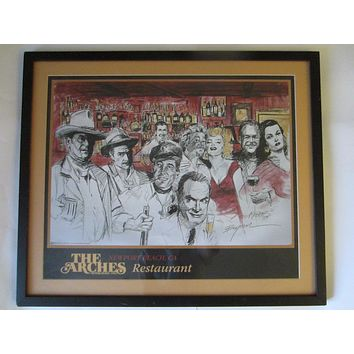 Michael Bryan The Arches Restaurant Signed Hollywood Movie Stars Print