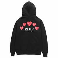 PLAY tide brand men and women behind the red heart print zipper hooded jacket Black