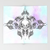 Alien Tribal Tattoo Throw Blanket by Chobopop