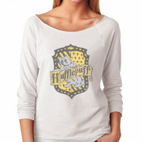 Harry Potter Inspired Clothing - Vintage Hufflepuff Crest Slouchy 3/4 Sleeve Lightweight Raglan Tee - Ladies