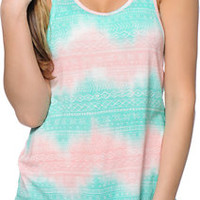 Empyre Myra Mint & Coral Chevron Tribal Print Tank Top