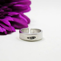 Feather Ring - Personalized Name Ring - Personalized Ring - Handstamped Ring - Feather Jewelry - Adjustable Ring - Custom Feather Ring