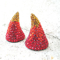 Devil Horns, Sexy Halloween Costume Accessory, Red Flame, Swarovski Crystal, Hair Accessory, Headband or Clip In