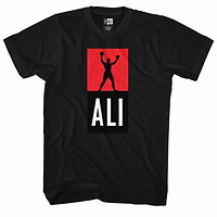 Muhammad Ali Tall T-Shirt Red And Black Hands Up Logo Black Tee