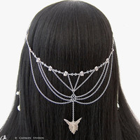Faelyne - Garden Fairy Silver Butterfly Flower Chain Headpiece