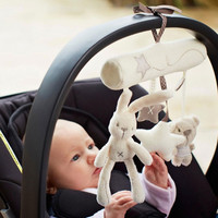 Rabbit Baby Music Stroller Plush Toys Hanging Bed Kids Safety Seat Stroller Musical Hand Bell Multifunctional Babies Gifts
