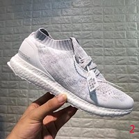Adidas Boost Popular Women Men Comfortable Knit Socks Shoes Sport Running Sneakers Light Grey I-CQ-YD