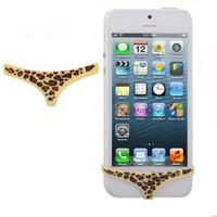 BYG Sexy Leopard Smart Panties for Iphone 4 4s/Iphone 5 5G(DUST PLUG)-phone Accessories + Gift 1pcs Phone Radiation Protection Sticker