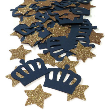 Royal Prince Confetti, blue and gold, crowns, stars, Ready in 3-5 business days, 100 pieces, kings crown, navy