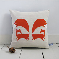 Hand Screen Printed Fox Cushion Cover in Burnt by robinandmould