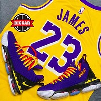 Nike LeBron 16 Lakers New fashion sports leisure running men shoes Purple