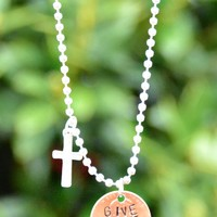 """""""Give Grace"""" Penny Necklace With Cross"""