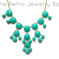 ready to ship aqua teal Bubble j crew inspired bib statement necklace couture wedding christmas
