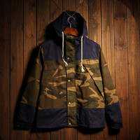 Men's Vintage Camo Quilted Lightweight Hooded Jackets