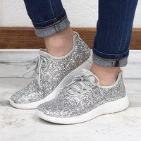 Sequin Glitter Sneakers {Silver} - Size 7
