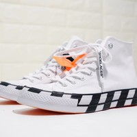 Converse x Off white the ten Woman Man fashion relaxation High help shoes