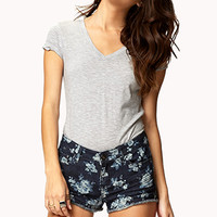 FOREVER 21 Rose Print Cut Offs Denim Washed/Cream