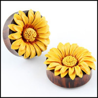 Double Flare Organic Sono Wood Leather SunFlower ear Plugs Gauges